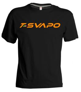 t-shirt nera-arancio